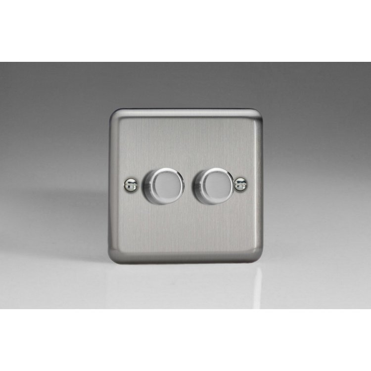Varilight 2-Gang 2-Way Push-On/Off Rotary LED Dimmer 2 x 0-120W (1-10 LEDs) Matt Chrome