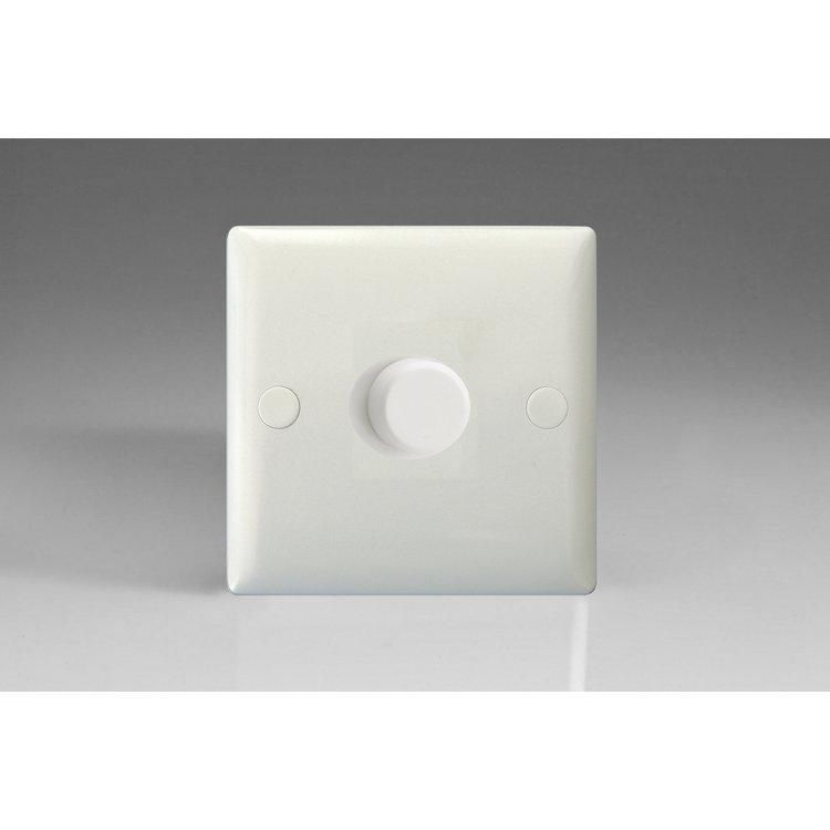 Varilight 1-Gang 2-Way Push-On/Off Rotary Polar White V-PRO LED Dimmer 1 x 0-120W (1-10 LEDs)