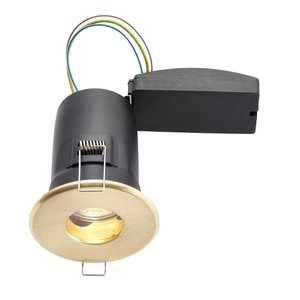 IP65 Fire Rated Cast Fixed LED GU10 Brushed Brass