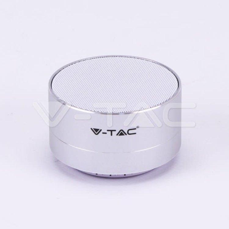 V-Tac V-Tac Metal Bluetooth Speaker Mic & TF Card Slot 400mah Battery Silver