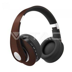 V-Tac V-Tac Bluetooth Wireless Headphone Adjustable Head 500mAh Brown