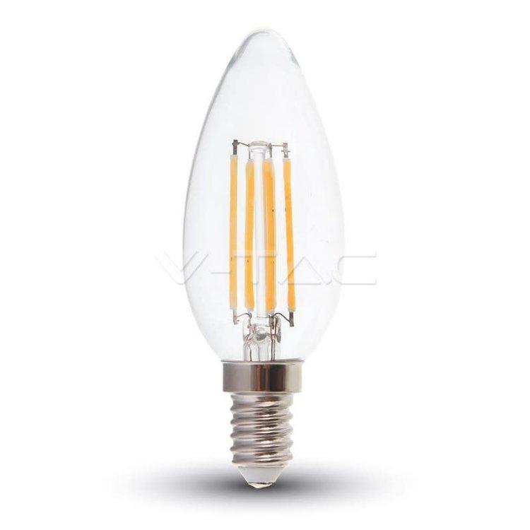 V-Tac V-Tac LED Bulb 6W Filament E14 Clear Cover Candle 6400K