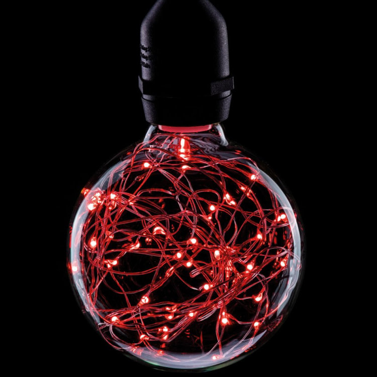 International Lamps Prolite Funky Filament 1.7w Red Star Effect LED Globe Lamp