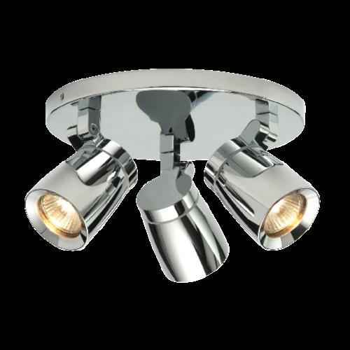 Saxby Knight 3LT Round IP44 35W Spot - Chrome Plate