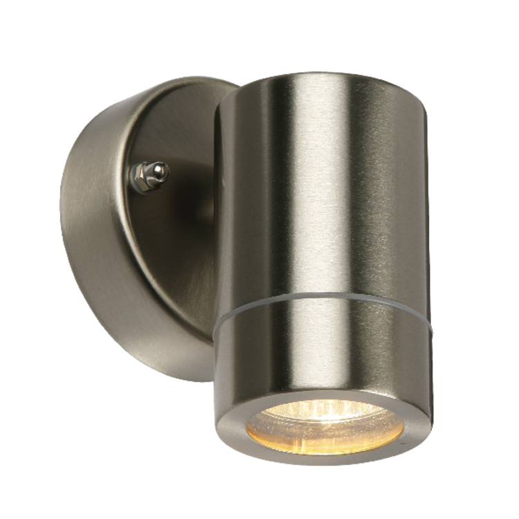 Saxby Palin 1LT Wall IP44 35W - Brushed Stainless Steel