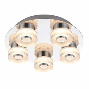 Endon Rita 5lt flush IP44 6W & 0.6W SW warm white - chrome plate