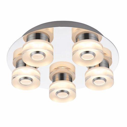 Endon Rita 5lt flush IP44 4.5W & 0.45W SW warm white - chrome plate