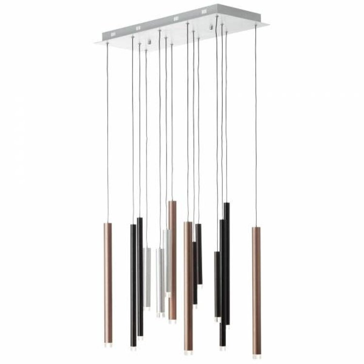 Brilliant CEMBALO Harpsichord LED pendant light 14-flames brown / coffee