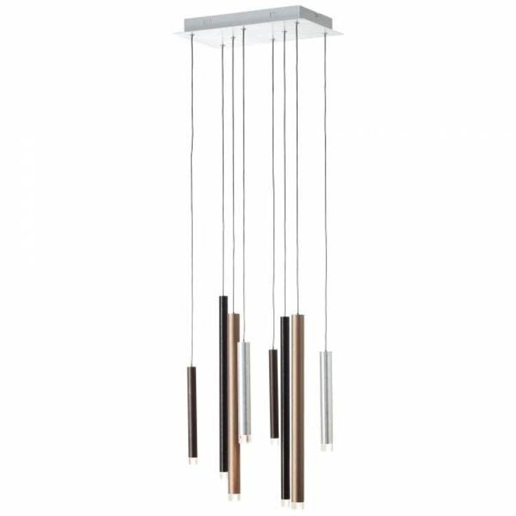 Brilliant CEMBALO Harpsichord LED pendant light 8-flames brown / coffee