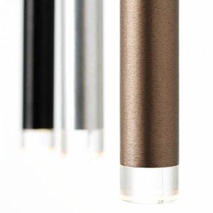 Brilliant CEMBALO Harpsichord LED pendant light, 5-flames, aluminum / black / brown