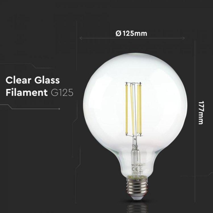 V-Tac V-Tac LED Bulb 12.5W Filament E27 G125 Clear Cover 6500K
