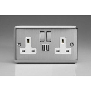 Varilight 2-Gang 13A Double Pole Switched Socket With Metal Rockers + 2 5V Dc 2100Ma USB Charging Ports Classic Matt Chrome White Insert