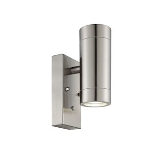 Saxby Palin photocell IP44 7W wall - brushed stainless steel