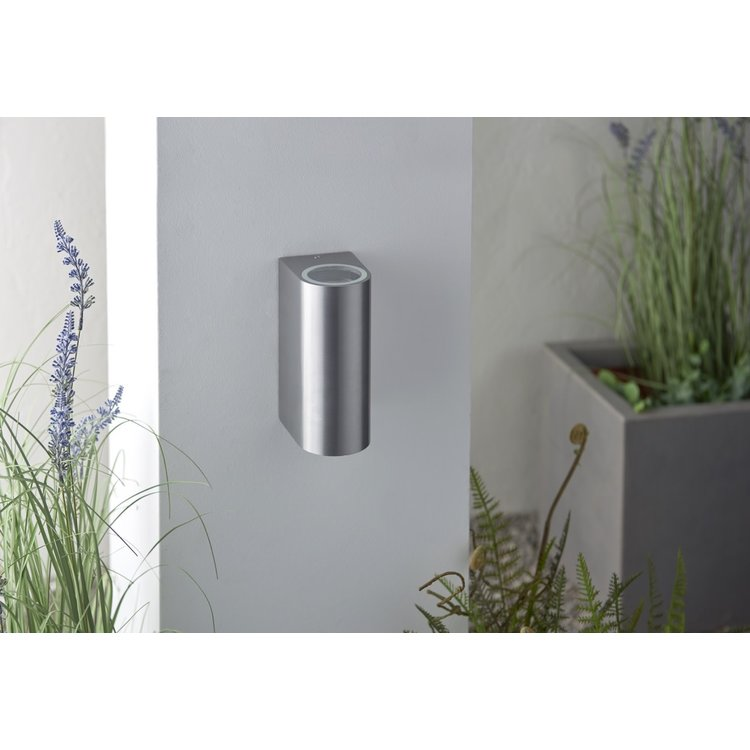 Saxby Doron 2lt wall IP44 35W - brushed alloy
