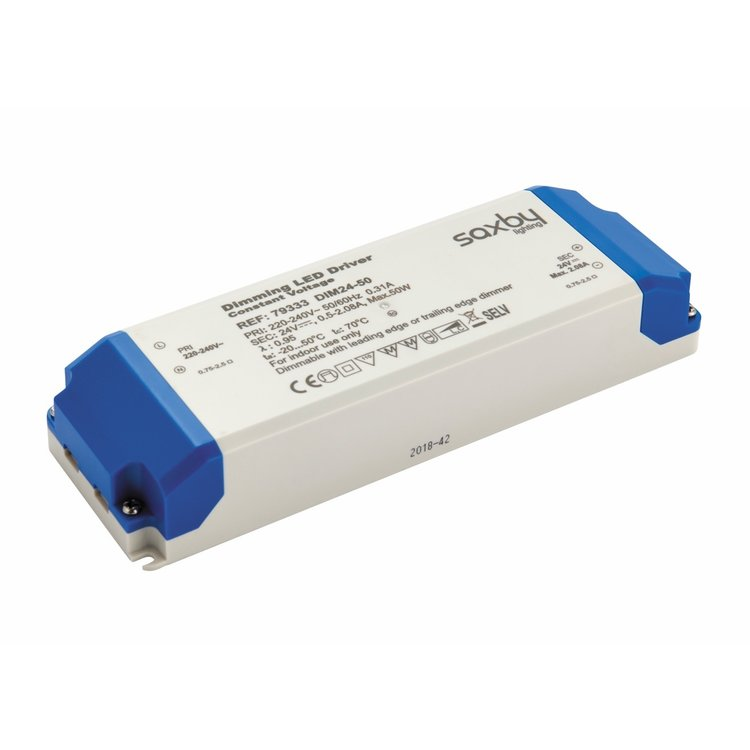 Saxby LED Driver Constant Voltage 24V 50W Dimmable
