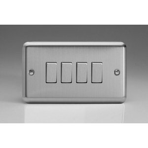 Varilight 4-Gang 10A 1- or 2-Way Rocker Switch (Twin Plate) with Metal Rockers