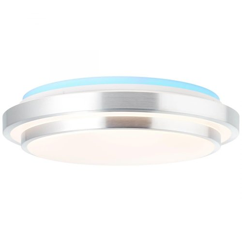 Brilliant Vilma LED flush fitting 52cm White-silver CCT-RGB-Dimmable with remote