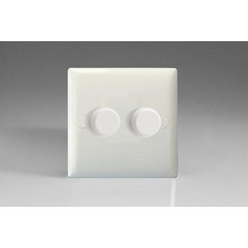 Varilight 2-Gang 2-Way Push-On/Off Rotary LED Dimmer 2 x 0-120W (1-10 LEDs)