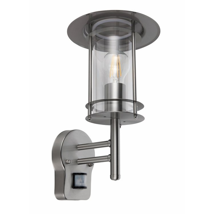 Saxby York PIR 1LT Wall IP44 60W - Polished Stainless Steel