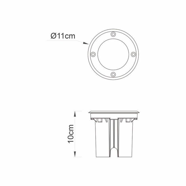 Saxby Ayoka Round IP67 10W Daylight White Recessed - Brushed Stainless Steel