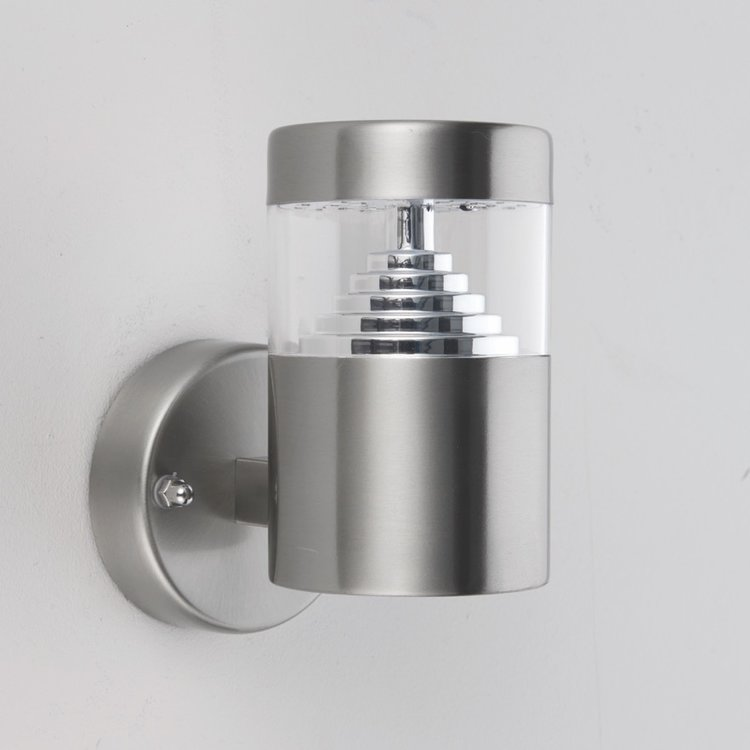 Saxby Pyramid 1LT Wall IP44 3.5W - Brushed Stainless Steel