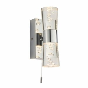 Endon Rocco 2lt wall IP44 2W SW warm white - chrome plate