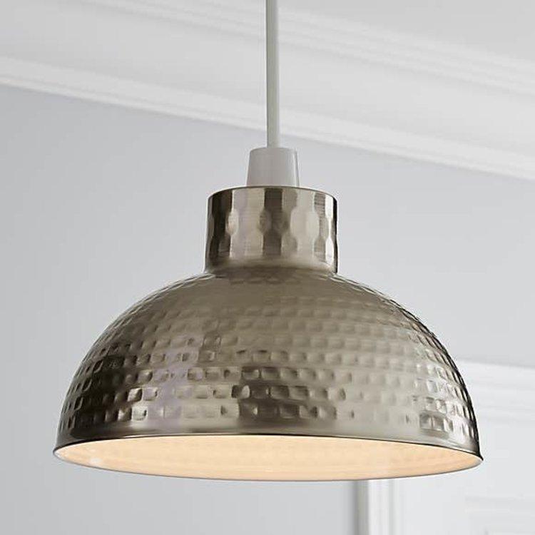 Poole Lighting Hammered Pendant Chrome
