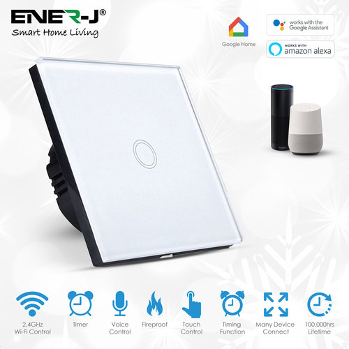 Ener-J Ener-J Smart 1 Gang Touch Glass Switch  (NO NEUTRAL NEEDED)