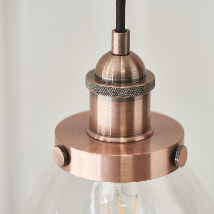 Endon Hansen 1LT Pendant Copper - Clear Glass