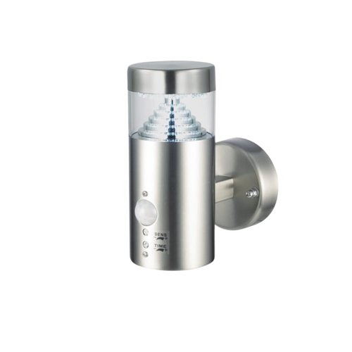Saxby Pyramid wall PIR IP44 3.3W daylight white - brushed stainless steel