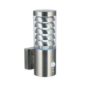 Saxby Tango wall PIR IP44 9.2W warm white - brushed stainless steel