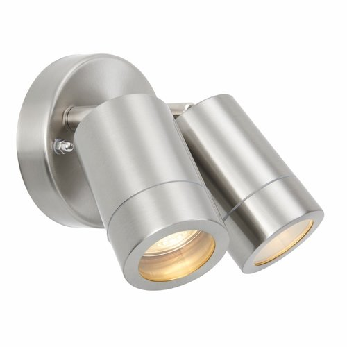 Saxby Palin 2lt spot wall IP44 7W  - brushed stainless steel