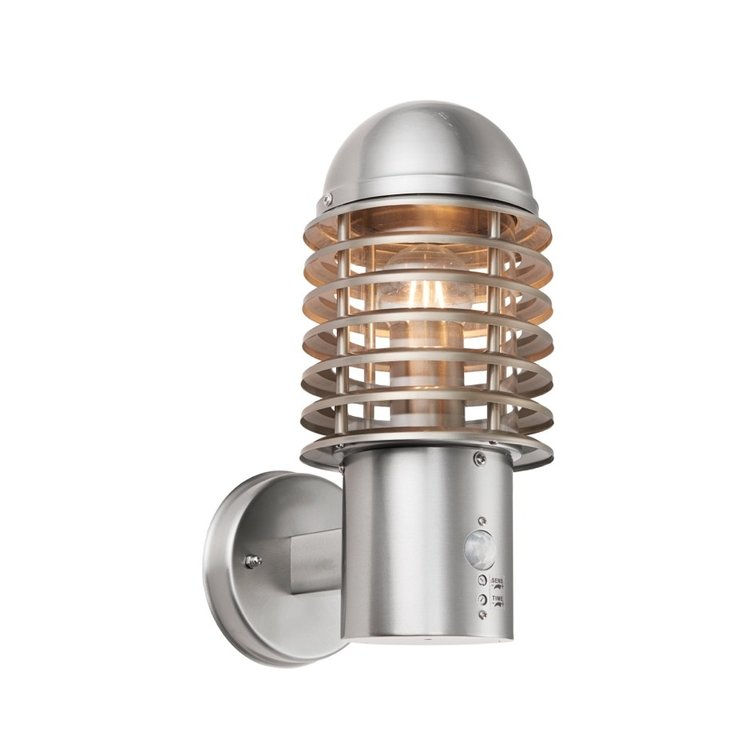 Saxby Louvre PIR 1lt wall IP44 60W - brushed stainless steel