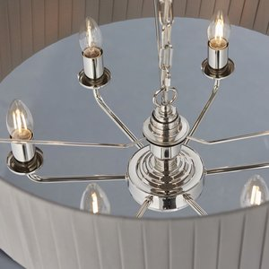 Endon Highclere 6lt pendant - Pleated Nickel/Charcoal