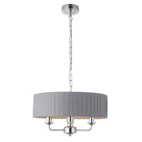 Endon Highclere 3lt pendant -  Nickel/Pleated Charcoal