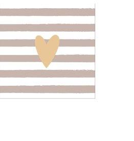 Arte Bene Cocktailservietten Heart Lines Taupe