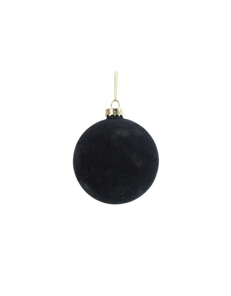 Kerstbal velours nachtblauw