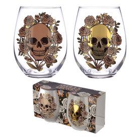 Glazenset Skull & Roses
