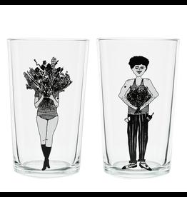 helen b Set 2 glazen Flower girl & Flower man
