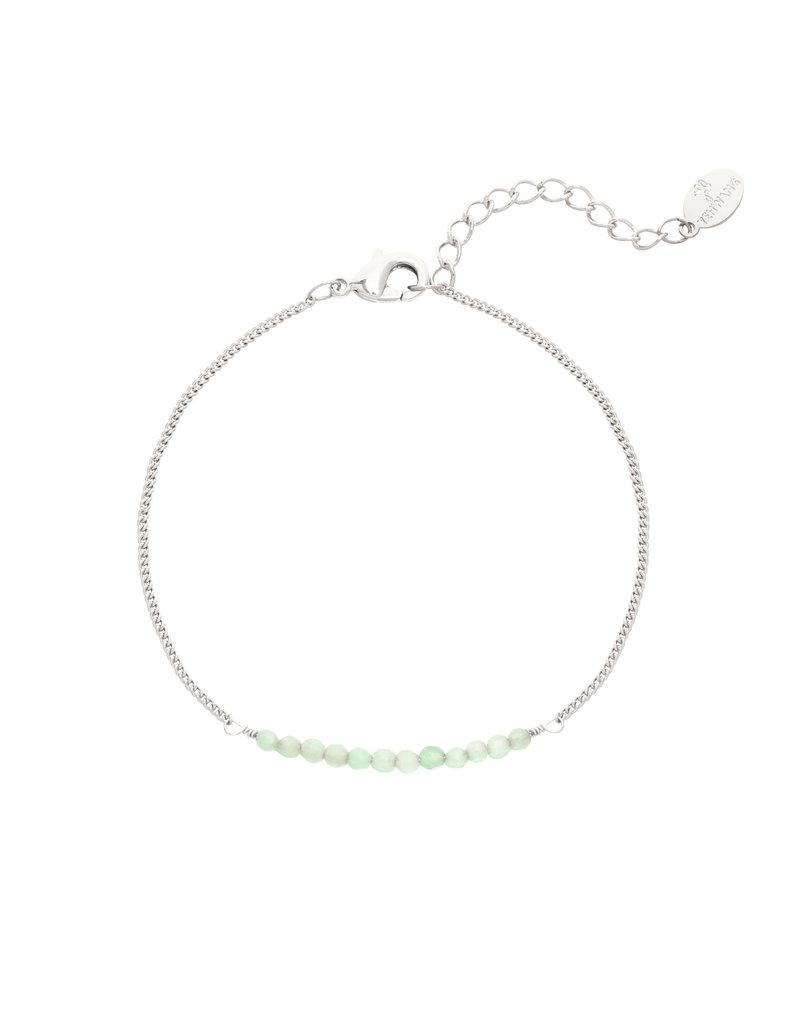 Armbandje Beads Silver/Green