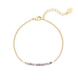 Armbandje Beads Gold/Lilac