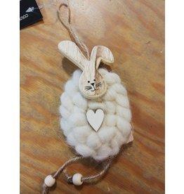 Hanger konijn wol wit
