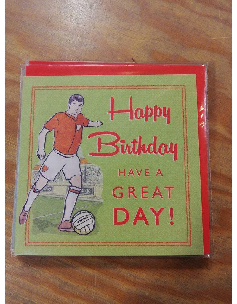 Kaart Happy birthday retro soccer