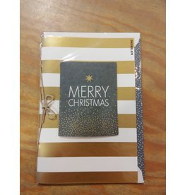 Arte Bene Kerstkaart Merry christmas stripes gold