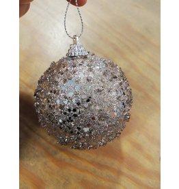 Kerstbal Glitter champagne