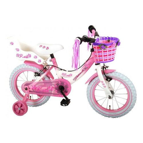 Volare Volare Rose Kinderfiets - Meisjes - 14 inch - Roze Wit - 2 handremmen