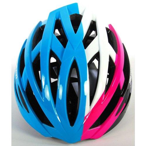 Volare Salutoni Dames Fietshelm Blauw Wit Roze 58-61 cm