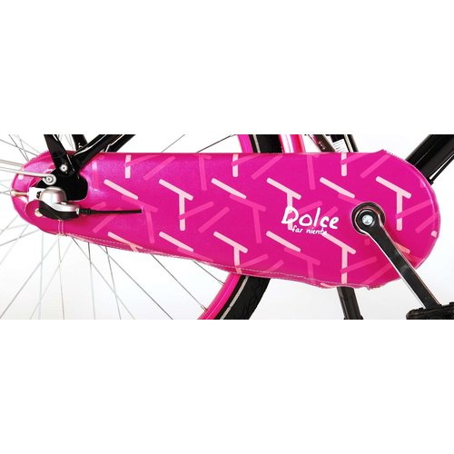 Volare Volare Oma Dolce Kinderfiets - Meisjes - 24 inch - Zwart/Roze - Shimano Nexus 3 versnellingen - 95% afgemonteerd