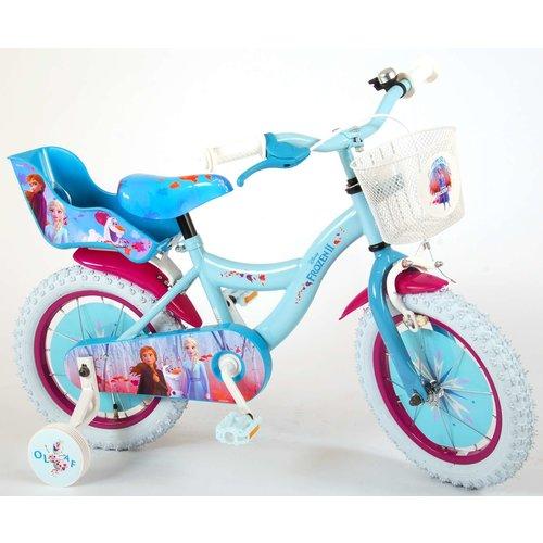 Volare Disney Frozen 2 Kinderfiets - Meisjes - 14 inch - Blauw/Paars - 95% afgemonteerd