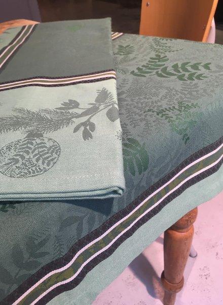 Le Jacquard Francais Bouquet Enchante kerst kleed groen 120 x 120 cm
